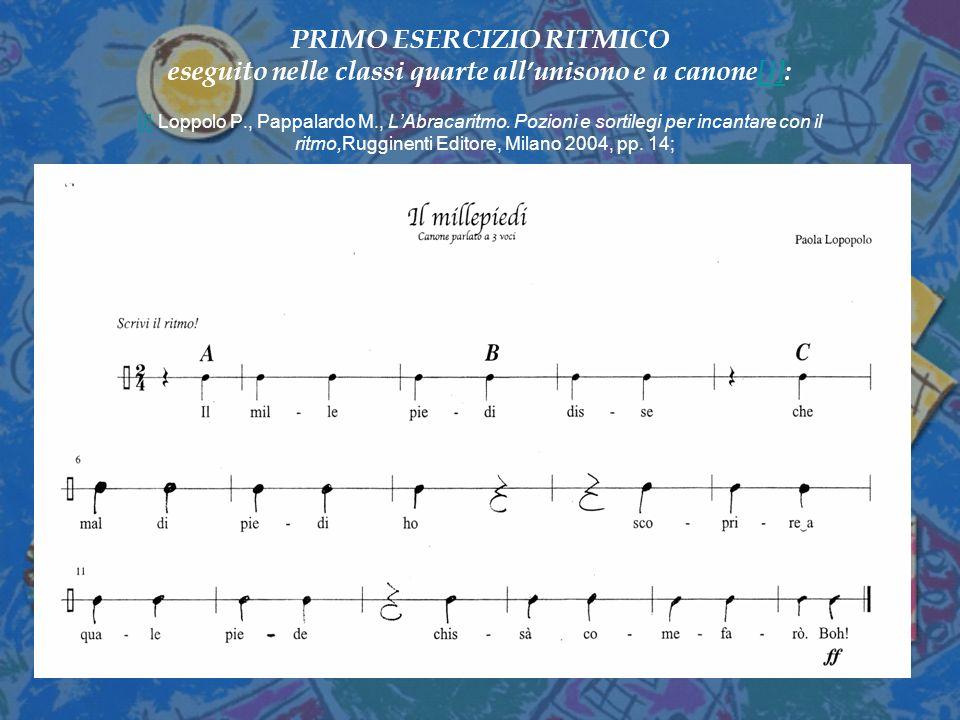 PRIMO ESERCIZIO RITMICO eseguito nelle classi quarte all'unisono e a canone[i]: [i] Loppolo P., Pappalardo M., L'Abracaritmo.